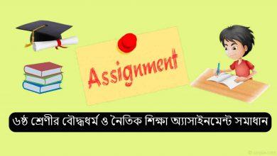 Class 6 Buddhism Assignment Answer